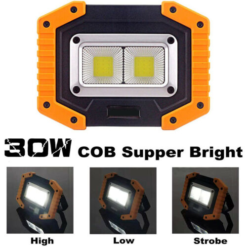 Portable 30W COB LED Work Light Rechargeable Flood Light Outdoor Camping Lamp