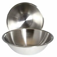 Set Of 2 - Large 13 1/4 Inch Wide Stainless Steel Flat Rim Flat Base Mixing Bowl on Sale