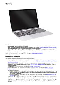 Apple MacBook Retina 12-inch Early 2015 Technician Guide Service Manual