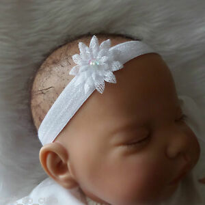 Baby headband hair band white flower christening baptism wedding image is loading baby headband hair band white flower christening baptism mightylinksfo