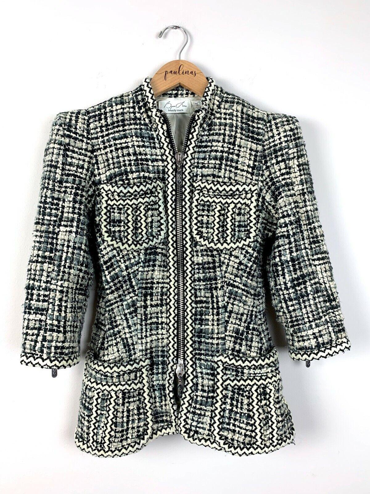 Anthro Byron Lars Beauty Mark Black Tweed Beaded Jacket Coat Size 2 XS