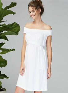 Isabella Oliver Maternity Marit Off the Shoulder Dress Sz 2 Small S 4 6 White