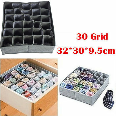 Foldable Bamboo Charcoal Underwear Socks Drawer Organizer Storage Box 30 Cells F