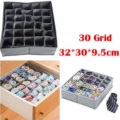 Foldable Bamboo Charcoal Underwear Socks Drawer Organizer Storage Box 30 Cells F
