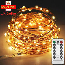 20 Daisy Battery Warm White Micro LED Lights Silver Wire 2m Timer by Lights4fun