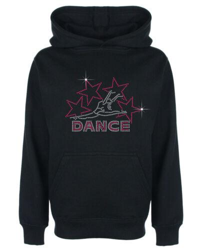 Dance and Stars Rhinestone Diamante Embellished Children/'s Hoodie Great Gift