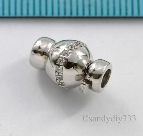 1x Rhodium STERLING SILVER CZ ROUND BEADING THREAD CONNECTOR CLASP 8mm #2868