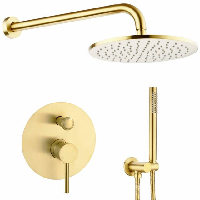 Oil ubbed Bronze Bathroom Shower Faucet 12-inch Round Rainfall Shower Combo Set