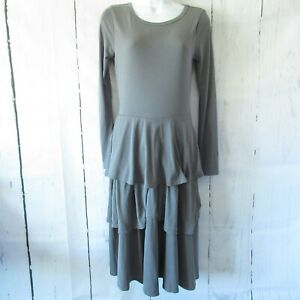 New-Lularoe-Georgia-Dress-S-Small-Solid-Gray-Ruffle-Tiered-Long-Sleeve-Modal