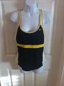 Nike-Athletic-Top-Sports-bra-Womens-active-wear-size-14-Black-Yellow-racer-back