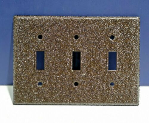 Bell Electric Brown Crackle Triple Gang Light Switch Wall Plate Cover 103BC NEW!
