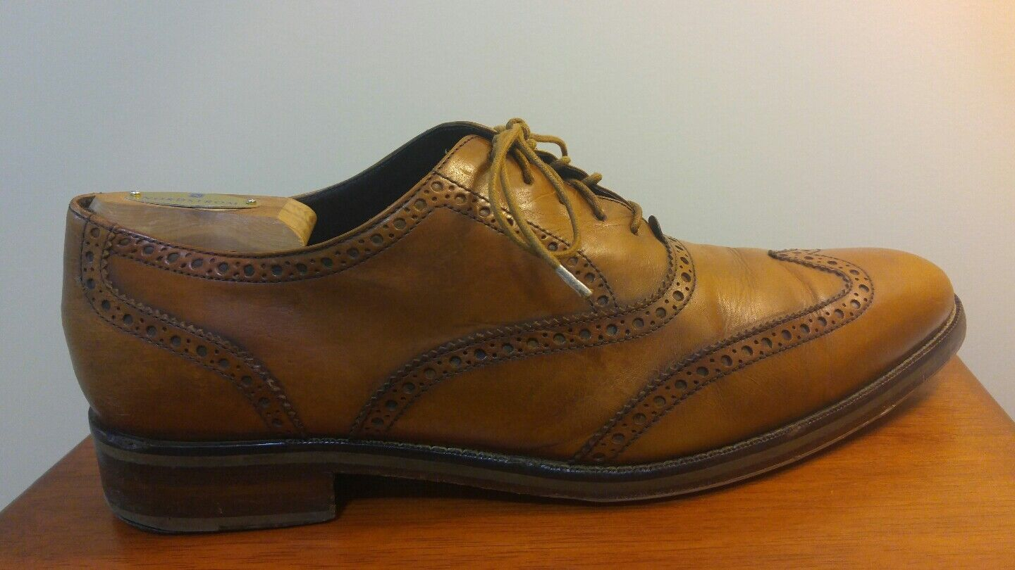 COLE HAAN MADISON C10146 WINGTIP BRITISH TAN LEATHER MEN'S DRESS SHOES 11.5 M
