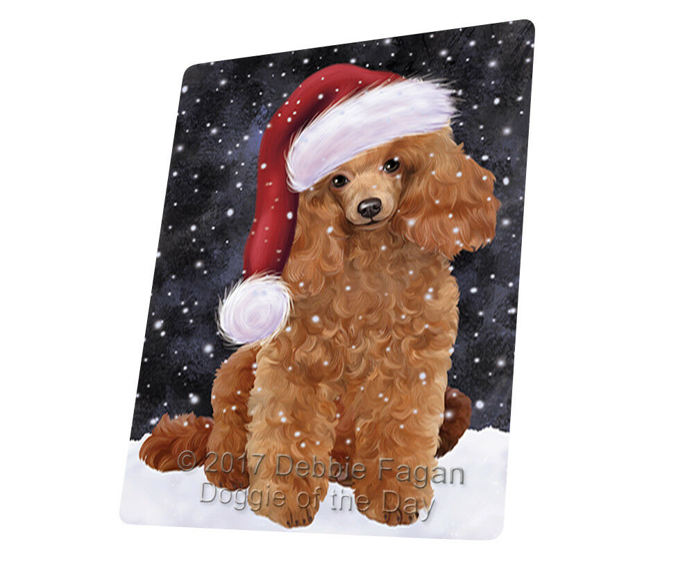 Let it Snow Christmas Holiday Poodles Hund Woven Throw Sherpa Blanket T109