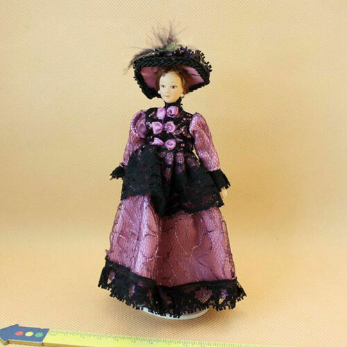1:12 Dollhouse Lace Skirt And Plumed Hat  Miniature Victorian Dolls Fast shippin