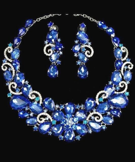 Cobalt Blue Crystal Women Necklace Earrings Set Silver Plated Holiday Special
