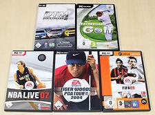 5 PC GIOCHI COLLEZIONE SPORT Tiger Woods PGA 2004 NBA Live 07 FIFA Football DTM 14