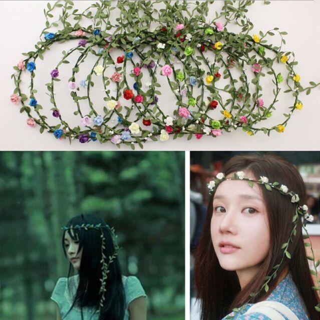 Bohemian Flower Crown Wedding Garland Forehead Head Hair Band Beach Wreath SL