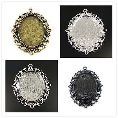 15PCS Vintage Bronze Alloy Flower Lace Pattern Pendant Connector Finding 37537