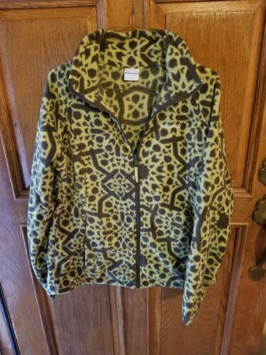 Columbia Womens Fleece Large Green Printed Jacket
