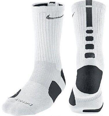 NIKE ELITE Basketball CREW Socks Size XL- 12- 15 Men WHITE- BLACK -DRI~ FIT