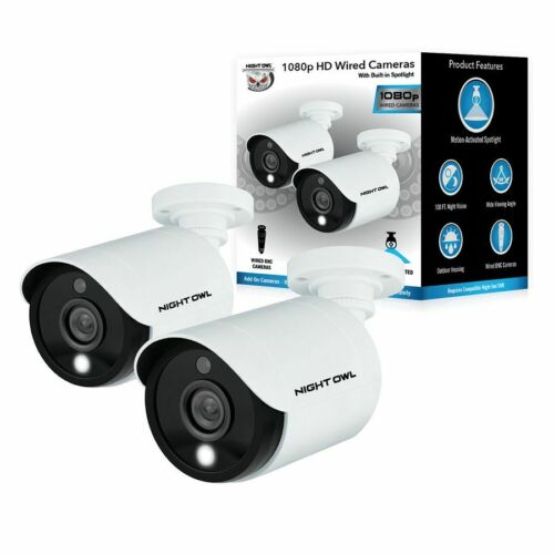 2 Pack Night Owl 1080p Wired Motion Activated Add-On Security Camera