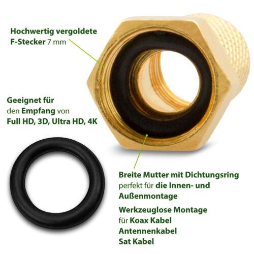 10x F Stecker 5x F Verbinder Vergoldet Kupplung Sat Kabel Verbindung HDTV Buchse