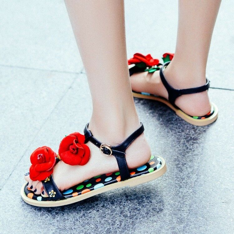 donna Floral Open Toe Slingback Sandals Casual Flats Flats Flats T-Strap Ankle Buckle scarpe 20bda8
