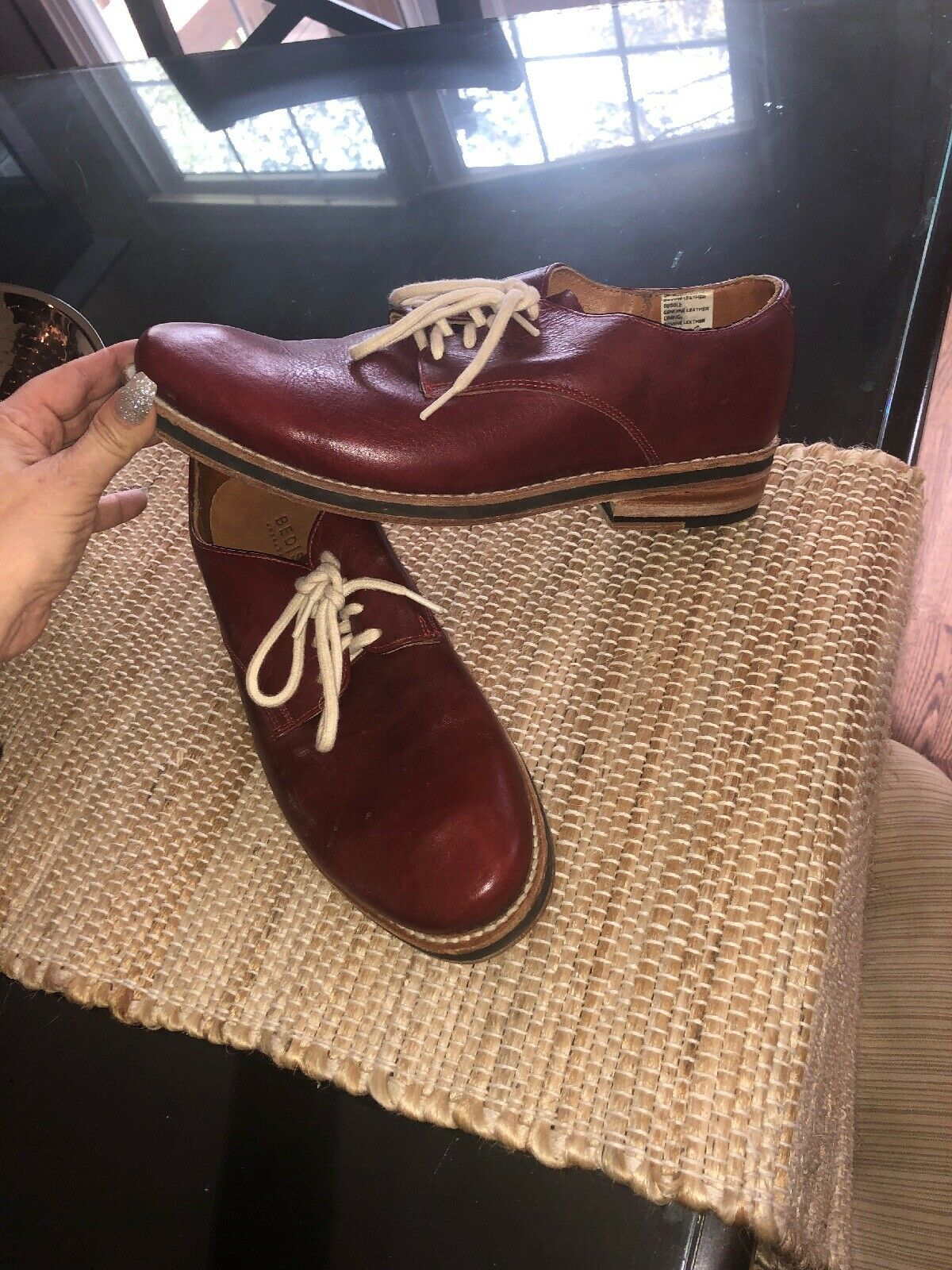 Bed Stu Men's 10 1 2 Red Leather Oxfords  shoes