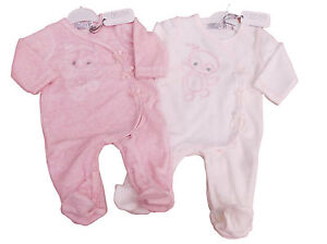 3c465df86 BNWT Baby girls soft velour all in one owl sleep suit in pink or ...