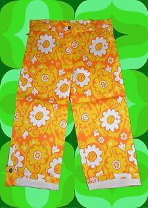 G137-Retro-Blumen-Muster-Hose-60er-70er-Jahre-Festival-Hippie-Schlager-Gr-40