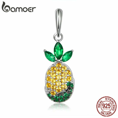 BAMOER S925 Sterling silver Charm Pineapple Dangle /& CZ For DIY Bracelet Jewlery