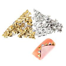 250pcs Studs 3d Triangles Metal 3mm Silver Decorations Nail Art Manicure YM
