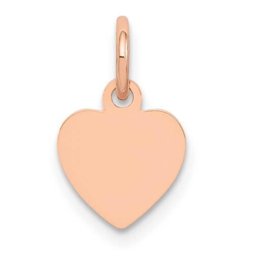 14k Rose Gold Polished Heart Disc Charm Pendant 14mmx9mm