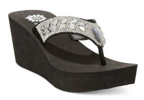 YELLOW BOX Pretty Strappy Jeweled Slip-On Thong Style Wedge in Black and Navy