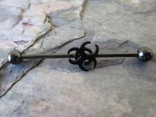 Black Titanium IP Bio-Hazard Barbell Industrial Scaffold Piercing