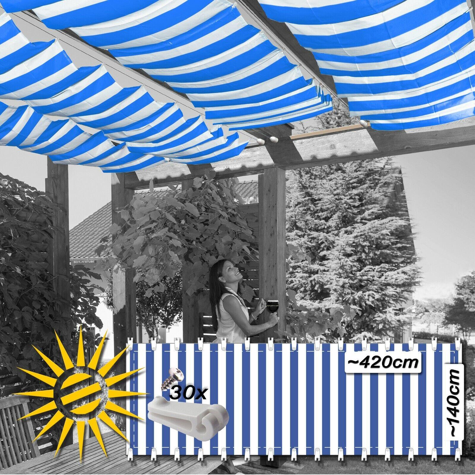 Toldo vela azul Weiss aprox. 420x140 cm 30 ganchos de ejecución seilspannmarkise jardín de invierno