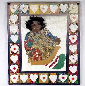 AA-Raggedy-Ann-Quilt-Applique-Decor-Handmade-16-034-x-14-034-signed-by-Bernice-Clarke