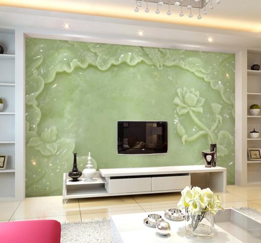3D Jade Stone Lotus 97 Wall Paper Murals Wall Print Wall Wallpaper Mural AU Kyra
