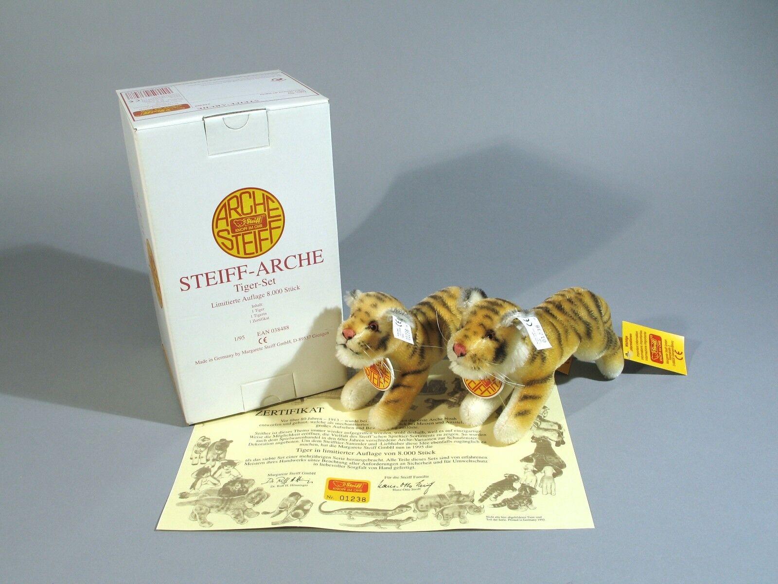Steiff Arche Ark Tiger Tiger Set 038488 KFS Waschanleitung Zertifikat OVP