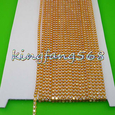 SS6.5 B Grade AB 2mm Crystal glass Rhinestones color banding Trim chain 10 Yards