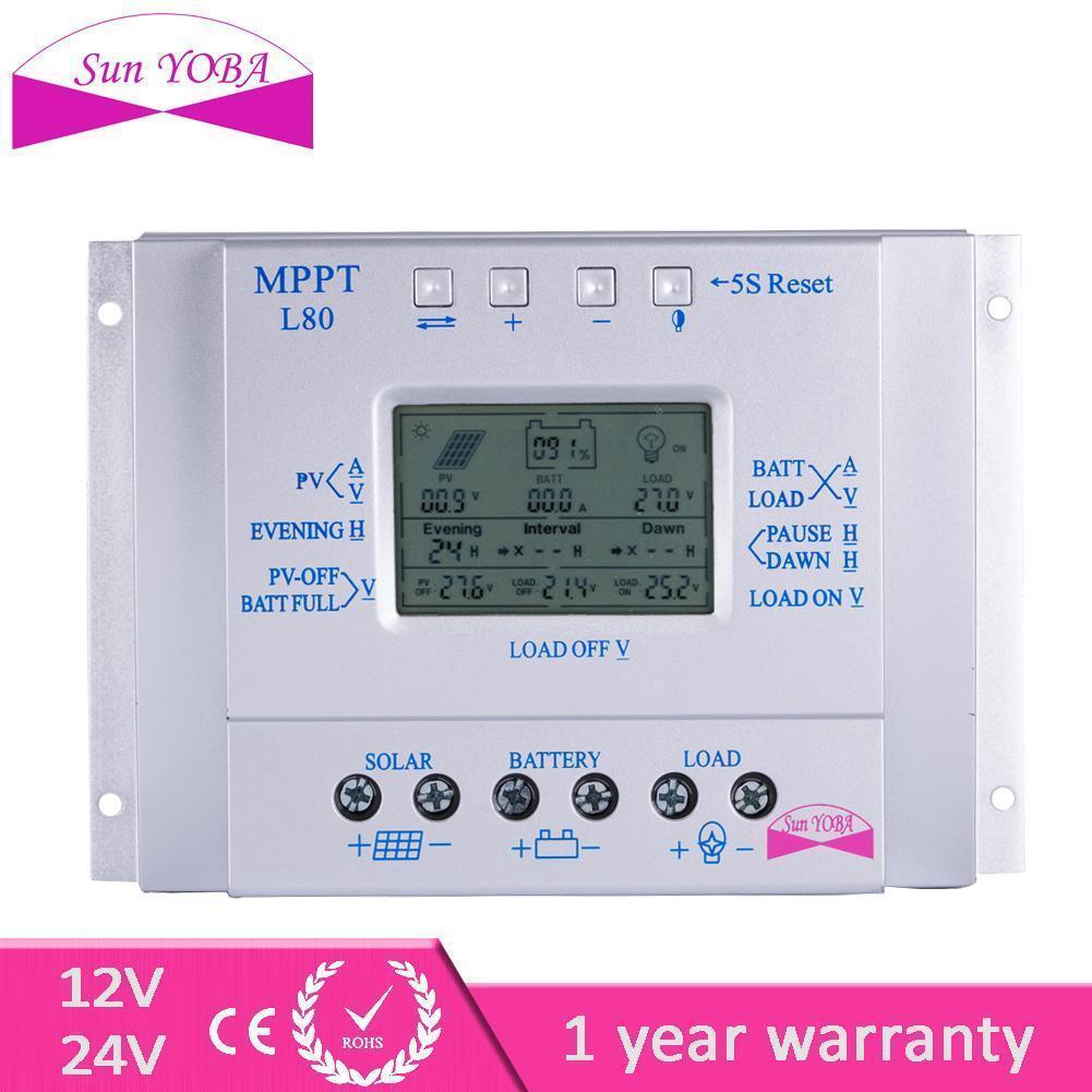 80A LCD 12V / 24V Solarregler Regulator Lade Batterie-sicherer Schutzart MPKS KS