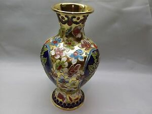 CLOISONNE-FLORAL-VASE-Metalwork-Vitreous-Enamel-Handcrafted-Asian-Multi-Color