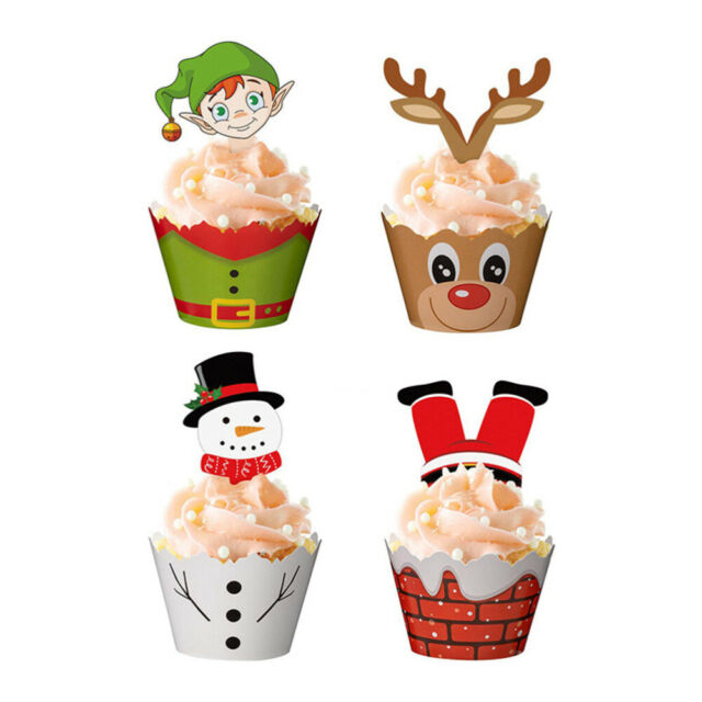 24//48PCS Christmas Cake Wrappers Toppers Cupcake Decoration Cake Picks Set