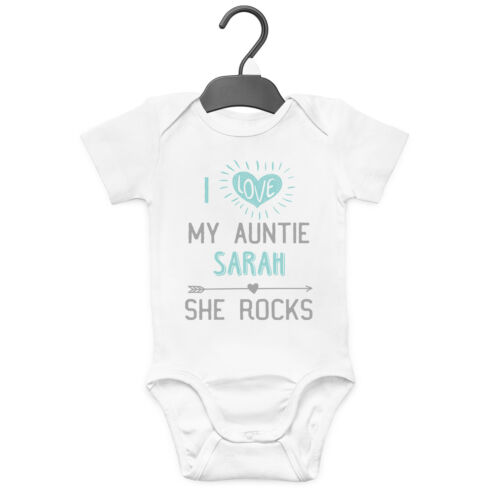 I LOVE MY AUNTIE SHE ROCKS PERSONALISED BABY GROW VEST CUSTOM FUNNY GIFT CUTE