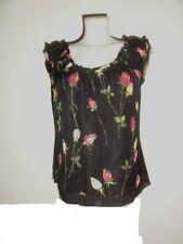 LUXUS BLUMEN ROSEN ESCADA Couture ABEND Bluse blouse 36/38 SEIDE Hochzeit flora