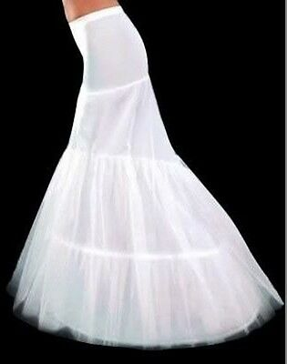 2 Hoop Fishtail Mermaid Cocktail Bridal Wedding Dress Petticoat Underskirt Slip