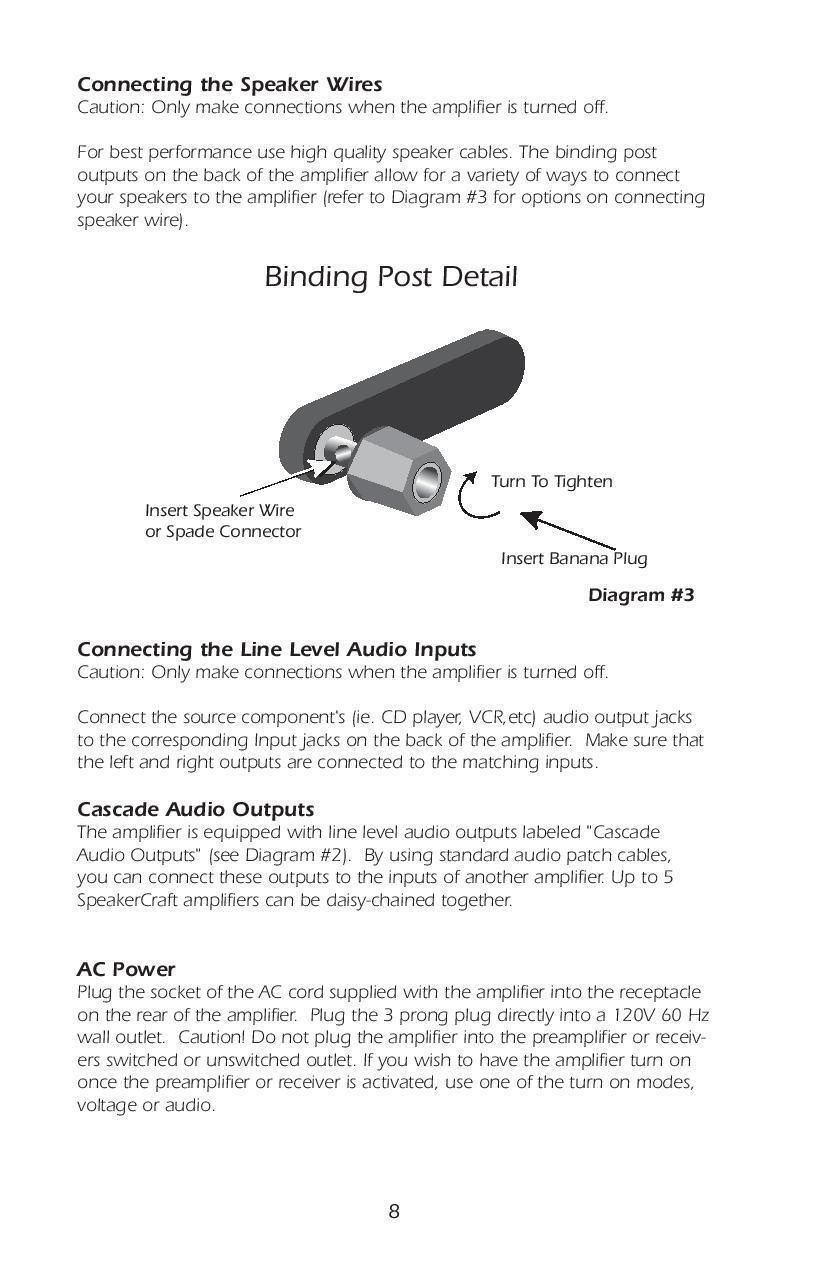 Speakercraft Bb275 2 Channel Amplifier Ebay Wiring Diagram Likewise Speaker Wire Banana Plugs On Speakers