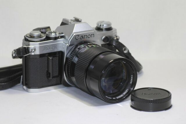 Canon AE-1 SLR Film Camera w/ New FD 135mm F/2.8 MF Lens Made In Japan