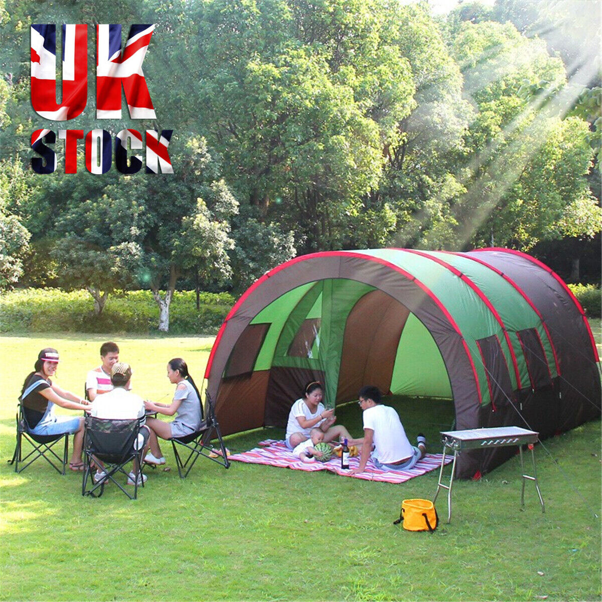 8 10 People Large Waterproof Group Family Festival Camping Outdoor Tunnel Tent