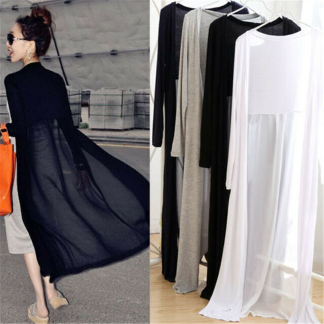 Women Charm Long Sleeve Cardigan Chiffon Sweater Wraps Long Outwear Coat